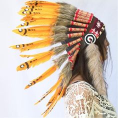 ADJUSTABLE Native American Indian Style Feather Headdress Multicolor Duck