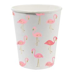 Pink and gold foil flamingo paper party cups