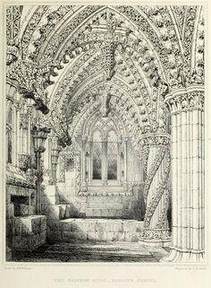 East Aisle, interior of 15th century Rosslyn Chapel, Roslin Glen, Scotland