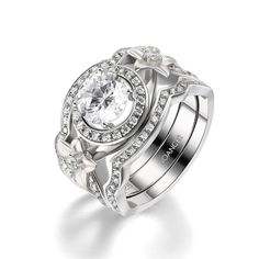 Round Cut Flowers White Sapphire Sterling Silver Women's Engagement Ring JoanceeJewelry