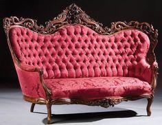 c1850 Rococo sofa, unknown maker, lmntd rosewood, 48t,75l, 09-6,6.  http://www.ebay.com/usr/circa19century
