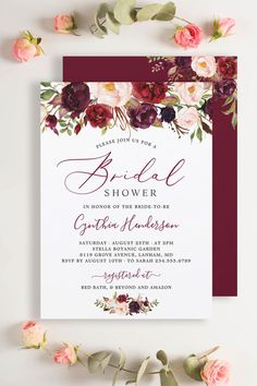 A Burgundy Marsala Red Floral Invitation Suite, with items from invitation to RSVP card, Thank You Card, Stickers, Address Label, Sign Poster, and more. #bridalshower Floral Invitation, Invitation Suite, Zazzle Invitations, Bridal Shower Invitations, Invitation Design, Wedding Rsvp, Monogram Wedding, Floral Wedding, Wedding Details