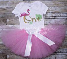 Flamingo First Birthday Tutu Outfit- Cake Smash Outfit- 1st Birthday Outfit- Flamingo Birthday- 1st Birthday Onesie- Flamingo Fiesta by MySweetPeaCouture on Etsy