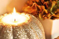 glitter + pumpkins + candles