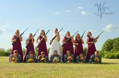 Alabama-style Wedding Party :)      The Groom is a big hunter and wanted a picture with their shotguns.  We ended up with this pose...LOVE IT!!!