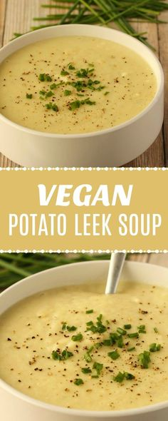 Creamy and delicious vegan potato leek soup! This hearty and comforting meal can be either an appetizer or an entrée - it's filling, satisfying and will have you coming back for more!   lovingitvegan.com