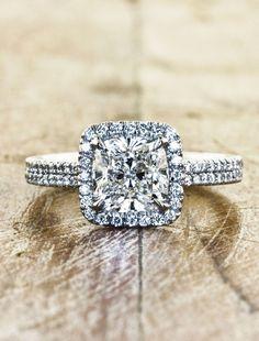Unique Custom Engagement Rings Ken & Dana Design - Caroline top view