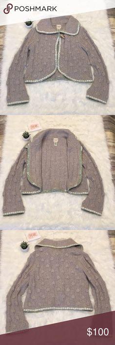曆Kenji Handknit Rabbit Blend Sweater/Jacket/Shawl NWOT Kenji Handkit for Anthropologie Sweater/Jacket/Shawl.  This is beyond gorgeous!  Light gray knit with sage green floral and lace trim.  This is a rabbit blend knit, so it is a bit fuzzy (normal).  Please see photos for approximate measurements of item flat.  Unable to model since it is too big for me.    Tags: Sweater, Jacket, Shawl  Thanks for stopping by 曆M30 Anthropologie Sweaters Cardigans