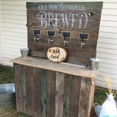 Wedding beer bar, built from re-purposed pallet wood.
