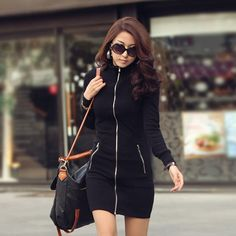 women s jacket,slim zipper long-sleeve dress,spring autumn clothing,black
