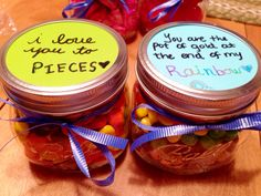 """Jar of Reese's Pieces and jar of Skittles with gold wrapped candy at the bottom of the """"rainbow."""" Sweet and lovely gift for your boyfriend or girlfriend for any occasion!"""
