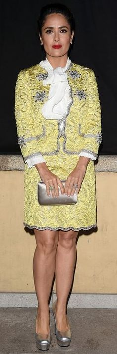 Who made Salma Hayek's yellow jacket and scallop skirt?