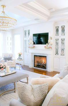 Tips to Warm up your Home after Christmas - Randi Garrett Design white, elegant family room