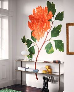 With a giant paper peony mural, there's no need for any other
