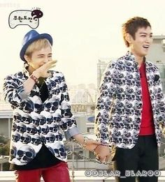 G-Dragon and TOP ♡ #BIGBANG #GTOP #GDTOP holding hands >.