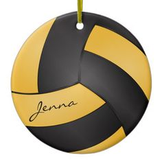 #SOLD Golden Yellow and Black Personalize #Volleyball Ceramic #Ornament