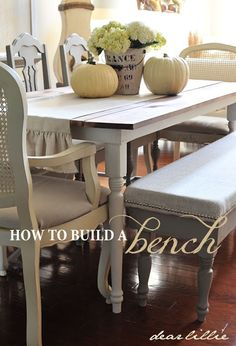 Dear Lillie: Dining Room Bench Tutorial. I think this is the bench I'll make for my table.  Will need 2.