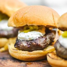 Mini Grilled Gyro Burgers With Tzatziki and Pickled Peperoncini Recipe