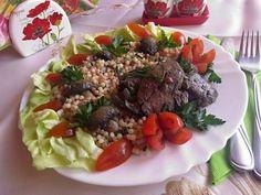 Csiperkegombás kacsamájak tarhonyával Beef, Food, Meat, Essen, Ox, Ground Beef, Yemek, Steak, Meals