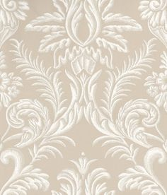 Ardwell (NCW4124-07) - Nina Campbell Wallpapers - A damask resembling plasterwork in contrasting grounds. Shown here in taupe/white - more colours are available. Please request a sample for true colour match.