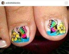 Nails & Co, Diy Nails, Hair And Nails, New Nail Art Design, Nail Art Designs, Butterfly Makeup, Nail Effects, Toe Nail Art, Pedicures