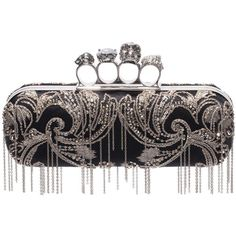 Alexander McQueen Metal Flower Embroidery Knuckle Box Clutch with... (3 630 AUD) ❤ liked on Polyvore featuring bags, handbags, clutches, black, skull box clutch, chain handbags, metal purse, alexander mcqueen purse and hard clutch