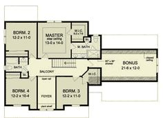 Second Floor Plan of Traditional   House Plan 54124
