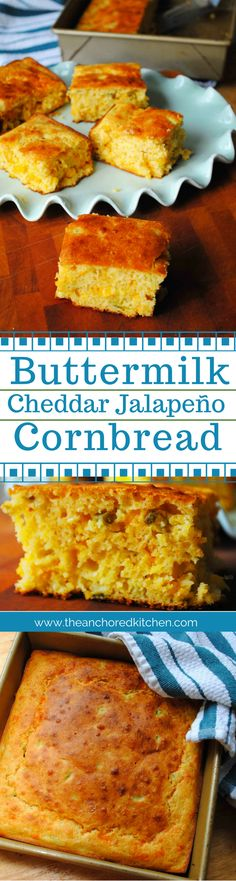 Buttermilk Cheddar Jalapeño Cornbread is light and fluffy with a subtle heat from pickled jalapenos and melted cheese throughout. Artisan Bread Recipes, Healthy Bread Recipes, Best Bread Recipe, Zucchini Bread Recipes, Jalapeno Cheddar Cornbread, Buttermilk Cornbread, Incredible Recipes, Food Test, Savory Breakfast