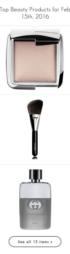 """Top Beauty Products for Feb 15th, 2016"" by polyvore ❤ liked on Polyvore featuring beauty products, makeup, face makeup, face powder, hourglass cosmetics, makeup tools, makeup brushes, powder brush, chanel makeup brushes and angled makeup brush"