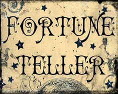 I'm planning on using something like this at the next Halloween party. Place by either a fortune wheel or read tarot for guests Halloween Signs, Holidays Halloween, Vintage Halloween, Halloween Crafts, Halloween Circus, Halloween Labels, Halloween Party, Halloween Ornaments, Vintage Witch