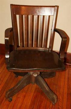 Antique Wood Office Chair Swivel Banker Desk Allen Industrial Wooden Old Vtg Arm | eBay $399