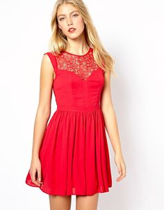 $116, Oasis Lace Skater Dress. Sold by Asos. Click for more info: https://lookastic.com/women/shop_items/67063/redirect