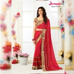 Buy this Fabulous Diamond Work Occasional Wear Jute Printed Saree along with Satin Lace Border by Laxmipati. Look fresh, look chic! Laxmipati Sarees, Georgette Sarees, Saree Shopping, Lace Border, Dubai Fashion, Printed Sarees, Look Chic, Bridal Looks, Bridal Collection