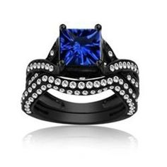 Show details for 'Constantine' Ct Princess Cut Blue and White Sapphire Black Gold Bridal Set Gothic Wedding Rings, Unusual Wedding Rings, Skull Wedding Ring, Gothic Engagement Ring, Wedding Ring Styles, Beautiful Wedding Rings, Designer Engagement Rings, Vintage Engagement Rings, Diamond Engagement Rings