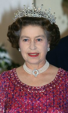 The Queen's jewelry box is overflowing with stunning necklaces, but chokers are not her go-to style. In fact, this piece is only one of a few she has worn over the years. It received a stamp of approval from Princess Diana in 1982 when the royal borrowed the necklace for a reception at Hampton Court Palace.