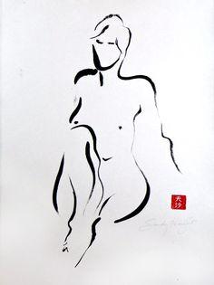 Leaning Back Knee Up  Original Sumi Figure painting