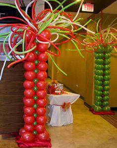 Balloon Columns, Winter Wonderland, Christmas Holidays, Balloons, Snow, Holiday Decor, Artist, Color, Globes