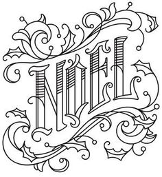 Victorian-style typography gives this NOEL design timeless flair. Christmas Embroidery Patterns, Hand Embroidery Patterns, Embroidery Designs, Embroidery Stitches, Paper Embroidery, Learn Embroidery, Christmas Coloring Pages, Coloring Book Pages, Coloring Sheets