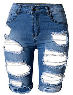 43c0fab431f OLRAIN Womens High Waist Ripped Hole Washed Distressed Short Jeans