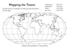 Mapping the Titanic Worksheet and more worksheets from Activity Village