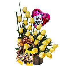 Arreglo Floral Tu - $140.000 [20 rosas amarillas, 2 M&M y Globo.]