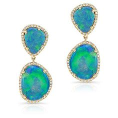 14KT Yellow Gold Organic Opal Drop Earrings ($2,105) ❤ liked on Polyvore featuring jewelry, earrings, gold jewellery, drop earrings, gold opal earrings, gold drop earrings and gold opal jewelry