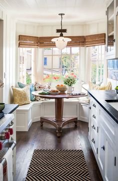 Breakfast nook: great idea for maximizing the space in a small cottage kitchen while accenting the bay window. - Beach House Decorating Ideas - Houzz Laguna Beach California Cottage Decor