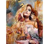 """In Gold, In Glory"" by surreal artist Dimitra Milan, is a mixed media oil painting, that is composed of a beautiful girl, and wildlife"