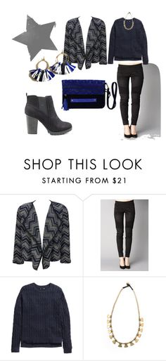 """""""grey and electric blue autumn"""" by blackpoppy45 on Polyvore featuring mode, Best Mountain, H&M, women's clothing, women's fashion, women, female, woman, misses et juniors"""