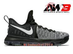 6d9f4817990 Chaussure de BasketBall Pas Cher Pour Homme Nike KD 9 Noir Blanc 843392 010  Boutique De Chaussures