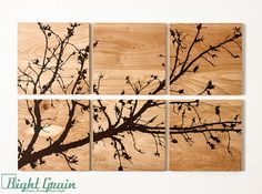 Pretty Branches in Bloom Original Wall Art on Wood by RightGrain