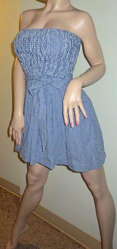 Hollister Co Moor Park Strapless Blue Gingham Print Sundress Dress Large New Super SeXy ~ ON Sale ~