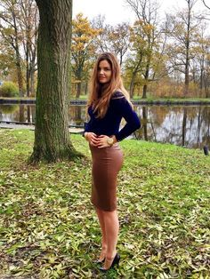 Tight brown leather pencil skirt