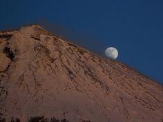 Moon and Mount Fuji